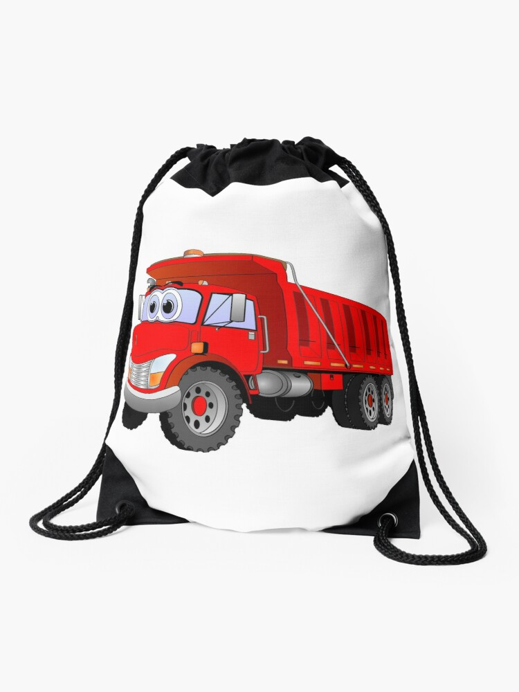Red Dump Truck 3 Axle Cartoon | Drawstring Bag