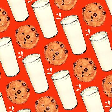 Milk & Cookies Pattern - Red by KellyGilleran