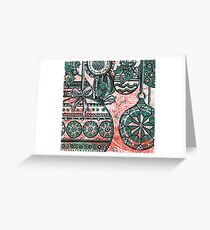 Xmas Baubles 11 -  Gelli Plate Print and Ink Greeting Card