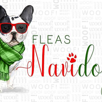 French Bulldog FunnyFleas Navidog Christmas in Red and Green by SalonOfArt