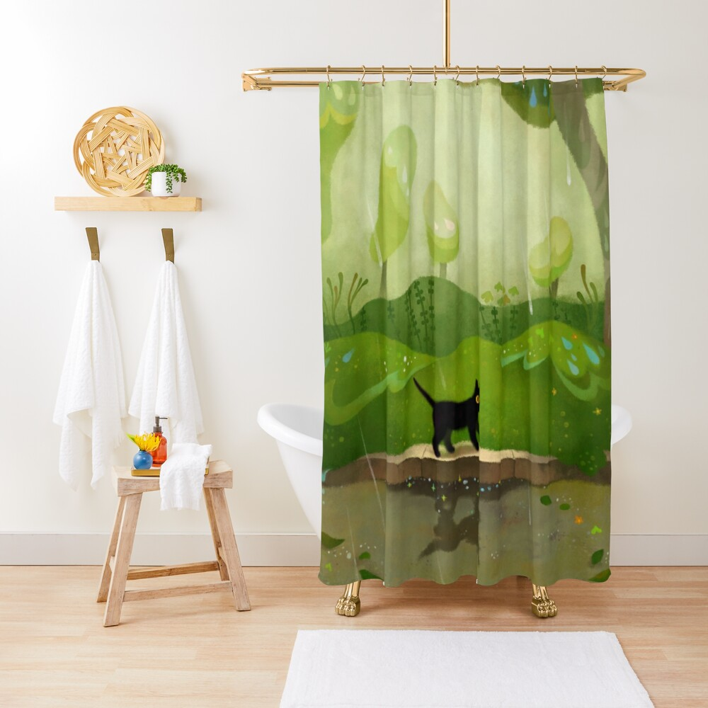Kitty on a rainy day Shower Curtain