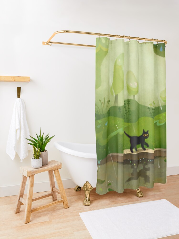 Alternate view of Kitty on a rainy day Shower Curtain