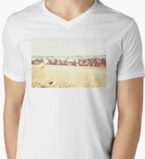 Venice Beach, palm trees, vintage, oceanside, people,  beach photography, California photography, California Wall Art Men's V-Neck T-Shirt