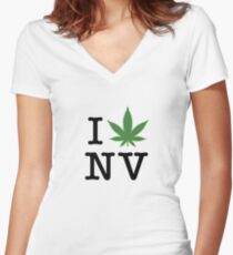 I [weed] Nevada Women's Fitted V-Neck T-Shirt