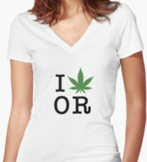 I [weed] Oregon Women's Fitted V-Neck T-Shirt