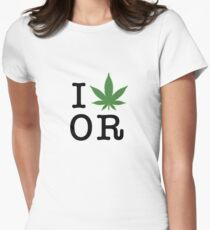 I [weed] Oregon Women's Fitted T-Shirt