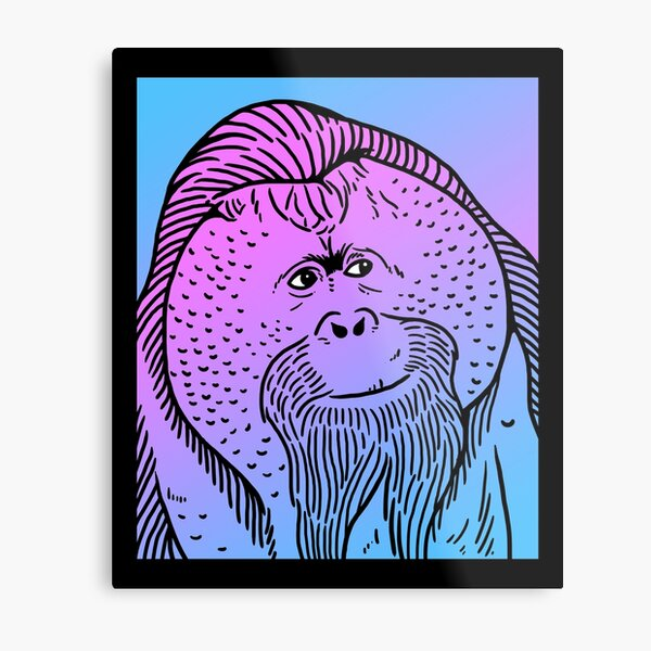Vaporwave Orangutan Aesthetic Pastel Goth Primate Metal Print