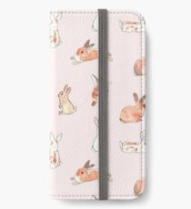 Bunny Rabbit Pattern on Pastel Pink iPhone Wallet/Case/Skin