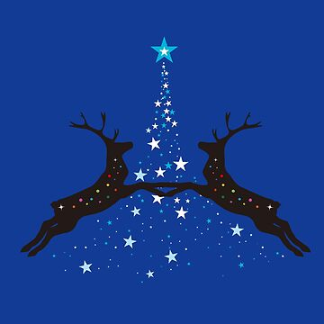 Star Christmas Tree with reindeer - Blue by SKKSdesign