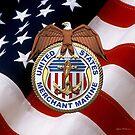 U.S. Merchant Marine - USMM Emblem over American Flag by Serge Averbukh