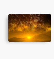 Fireworks Above The Mountains At Sunset Canvas Print
