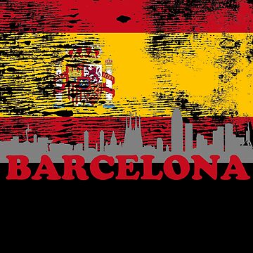 Barcelona Skyline Silhouette City Spain Distressed Flag by LarkDesigns