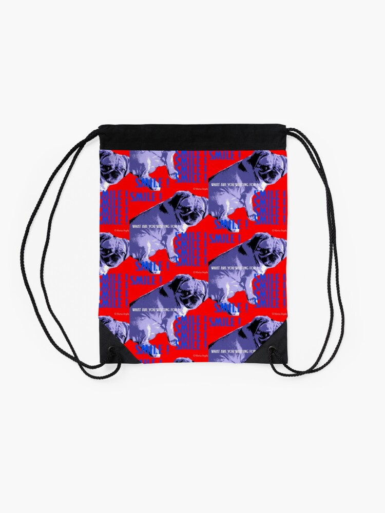 Alternate view of Smile - What Are You Waiting For? Pugalier Pug  Drawstring Bag