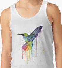 Camiseta de tirantes Colibrí, acuarela, arco iris