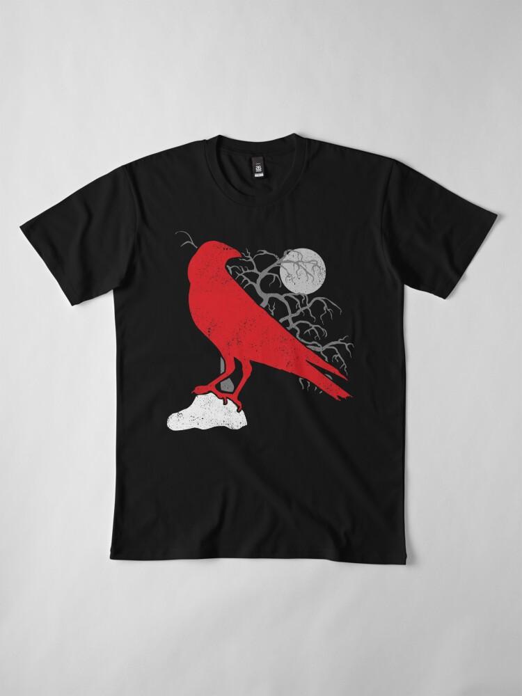 Alternative Ansicht von Roter Rabe und Vollmond Premium T-Shirt