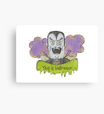 Evil Blue Dracula Character for Halloween Canvas Print