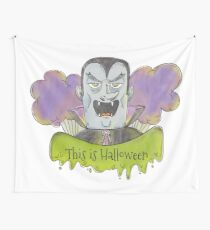 Evil Blue Dracula Character for Halloween Wall Tapestry