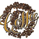 Coffe lettering and coffee beans by Vasily