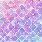 Moroccan Pattern | Pink Blue Watercolor Window Pattern by Thubakabra