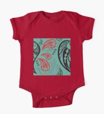 Aqua Red Black Tattoo Paisley One Piece - Short Sleeve