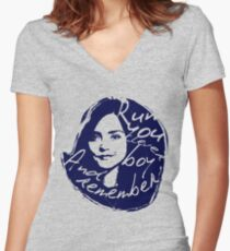 Run You Clever Boy Women's Fitted V-Neck T-Shirt