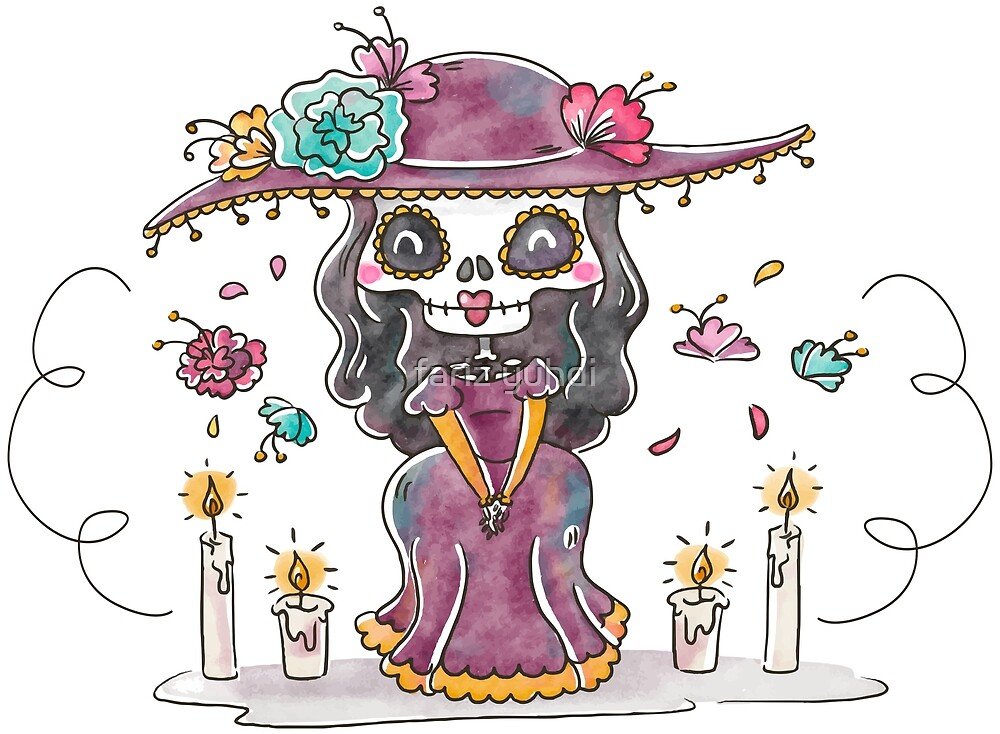 Cute Catrina Character Smiling With Floral Elements by fariz yuhdi