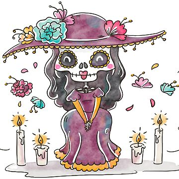 Cute Catrina Character Smiling With Floral Elements by tato69