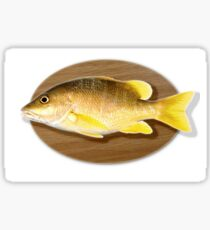 Digitally generated image of a mounted fish trophy on a wooden plaque  Sticker