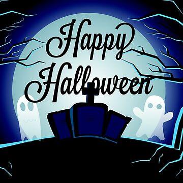 Spooky Graveyard Vector Illustration by tato69