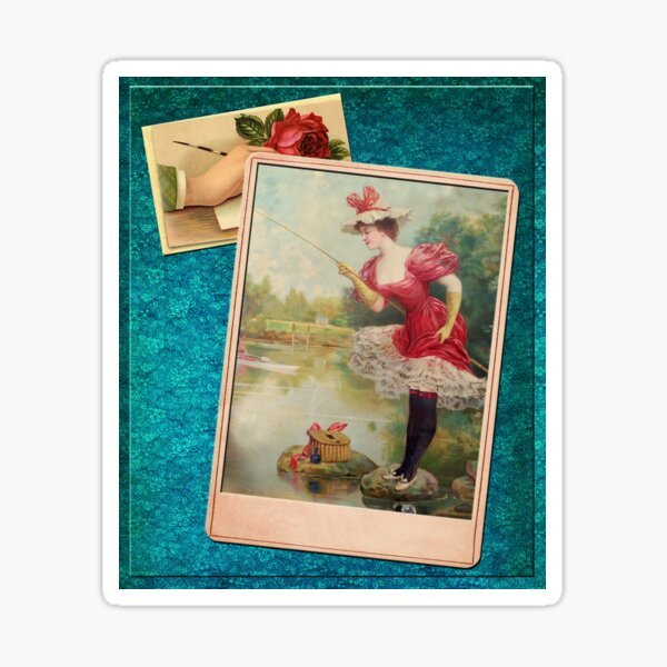 Victorian Fishing 2 In Brilliant Red Green And Blue Sticker