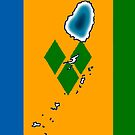 St Saint Vincent Flag with Map of St Vincent by Havocgirl