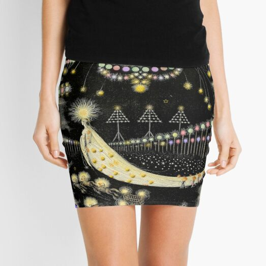 'Wanderings Of A Comet' With Gold, Blue And Purple Hues Mini Skirt