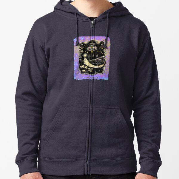 'Wanderings Of A Comet' With Gold, Blue And Purple Hues Zipped Hoodie