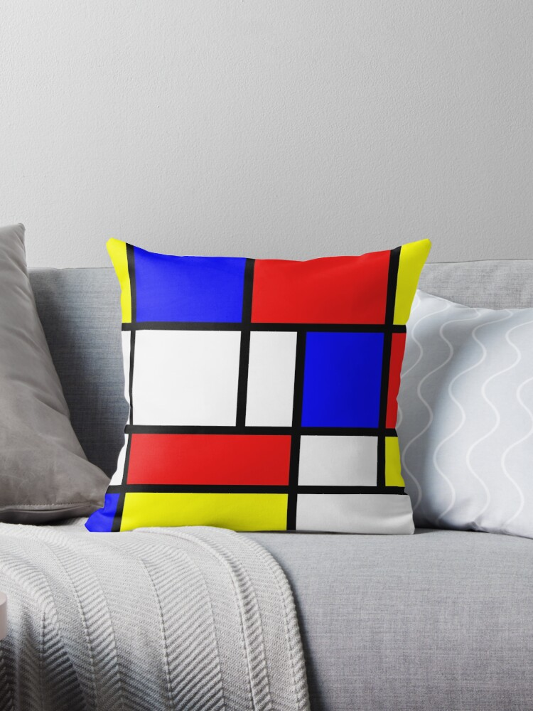 Redblue Yellow And White Throw Pillows By Tjb62 Redbubble