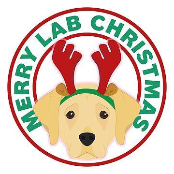 Merry Christmas Yellow Lab Labrador Retriever by CafePretzel