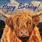 Highland Cow Birthday Card by EuniceWilkie