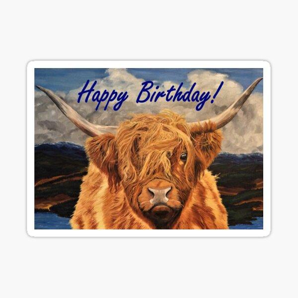 Highland Cow Birthday Card Sticker