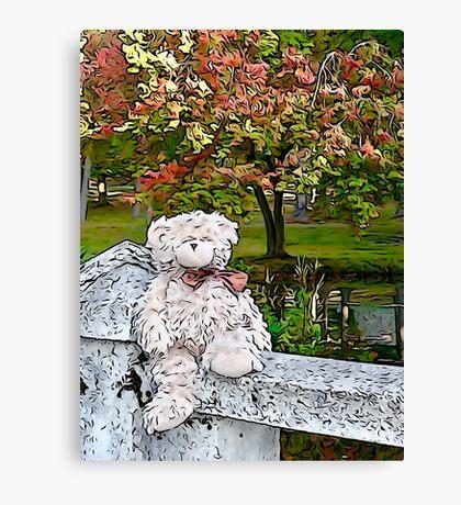 Teddy Bear by the Pond in Autumn Canvas Print