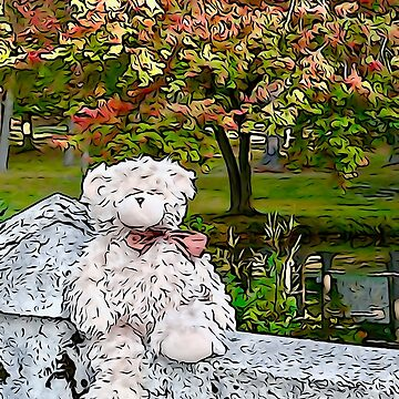 Teddy Bear by the Pond in Autumn by BBrightman