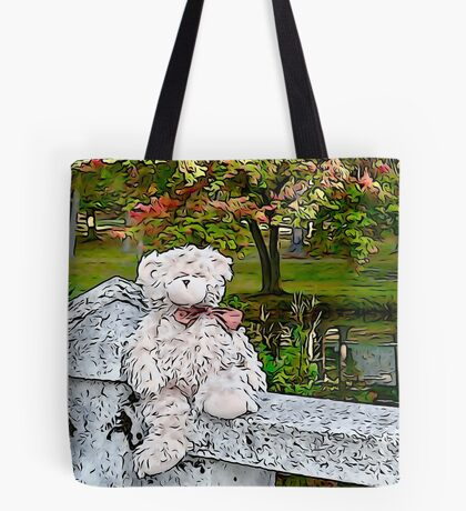Teddy Bear by the Pond in Autumn Tote Bag