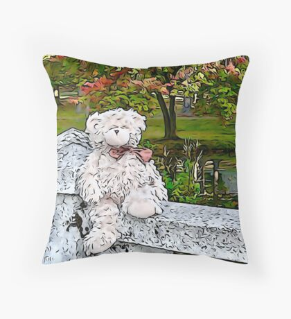 Teddy Bear by the Pond in Autumn Throw Pillow
