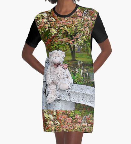 Teddy Bear by the Pond in Autumn Graphic T-Shirt Dress