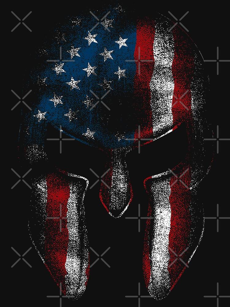 Spartan Warrior American Flag USA 'Merica Sparta Pride  by thespottydogg