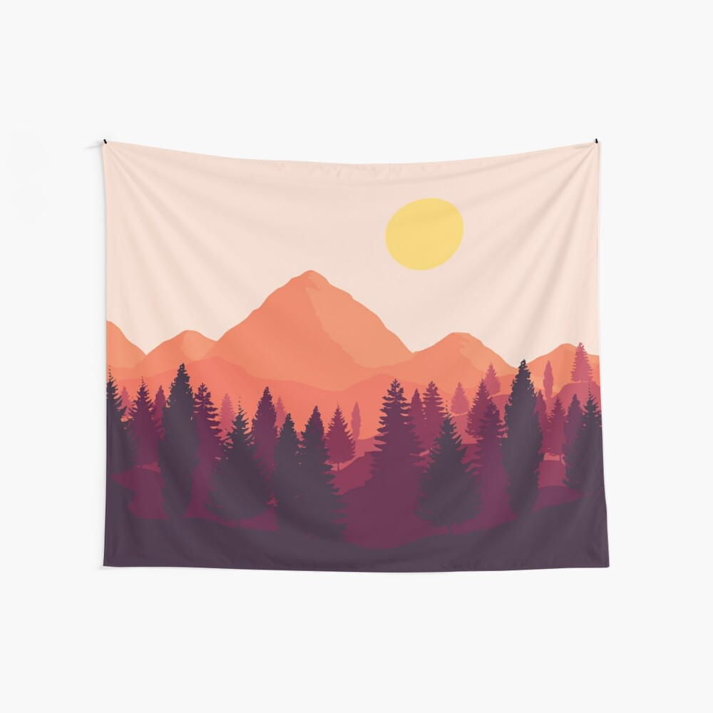 Forest Mountain Horizon Wall Tapestry