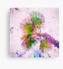 Colorful palm tree on pink and blue Metal Print