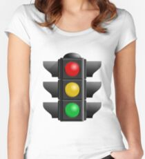 A traffic light with red, yellow and green lights Women's Fitted Scoop T-Shirt