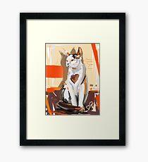 Cat big heart Framed Print