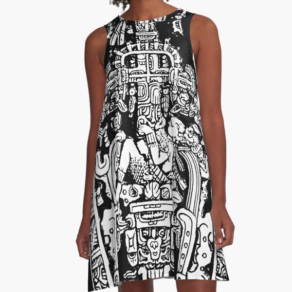 Ancient Astronaut. Pakal, Maya, sarcophagus lid, in Black & White. A-Line Dress