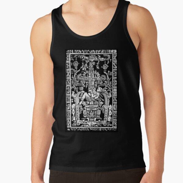 Ancient Astronaut. Pakal, Maya, sarcophagus lid, in Black & White. Tank Top