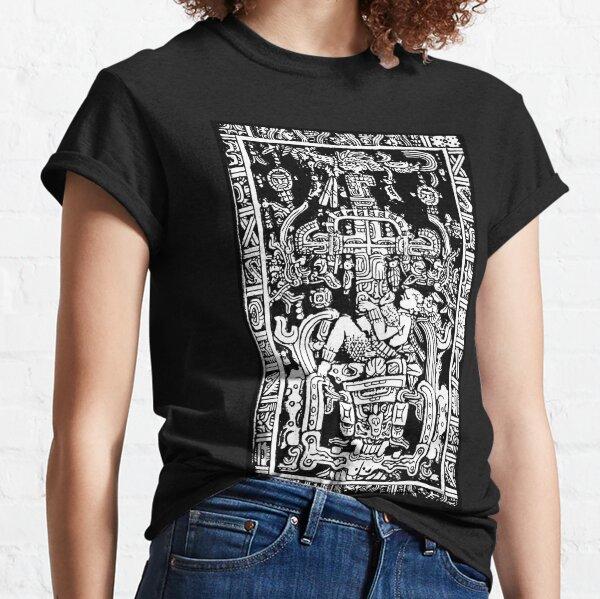 Ancient Astronaut. Pakal, Maya, sarcophagus lid, in Black & White. Classic T-Shirt